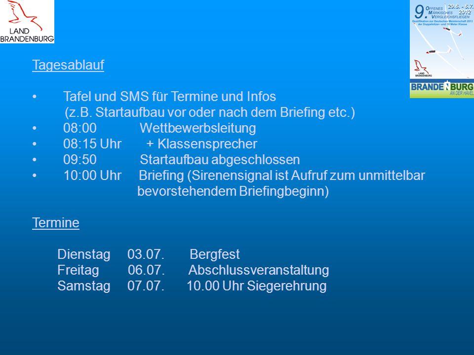 Tagesablauf Tafel und SMS für Termine und Infos. (z.B. Startaufbau vor oder nach dem Briefing etc.)