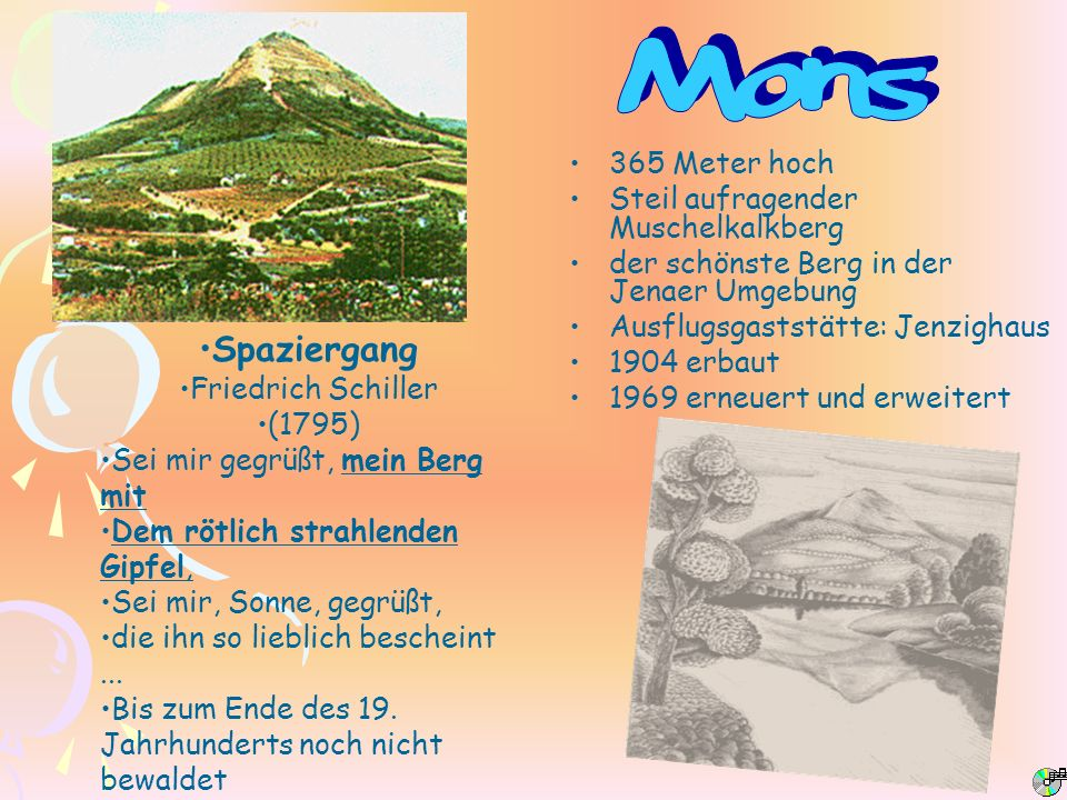Mons Spaziergang 365 Meter hoch Steil aufragender Muschelkalkberg