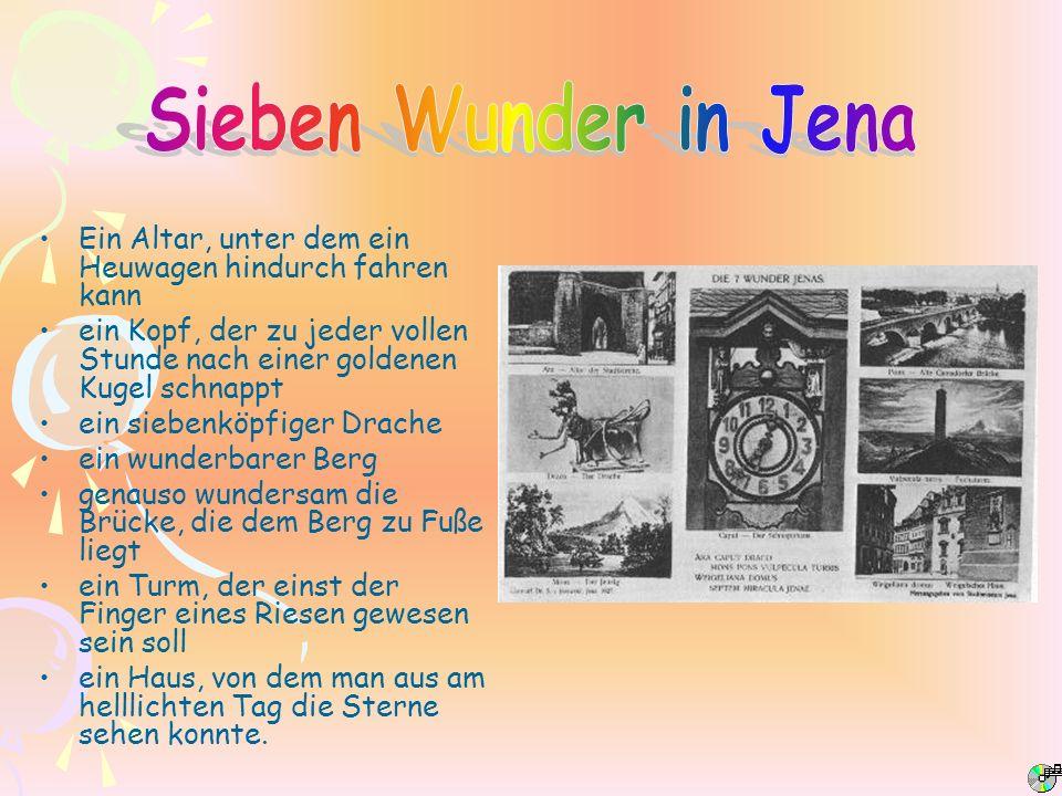 Sieben Wunder in Jena Ein Altar, unter dem ein Heuwagen hindurch fahren kann.