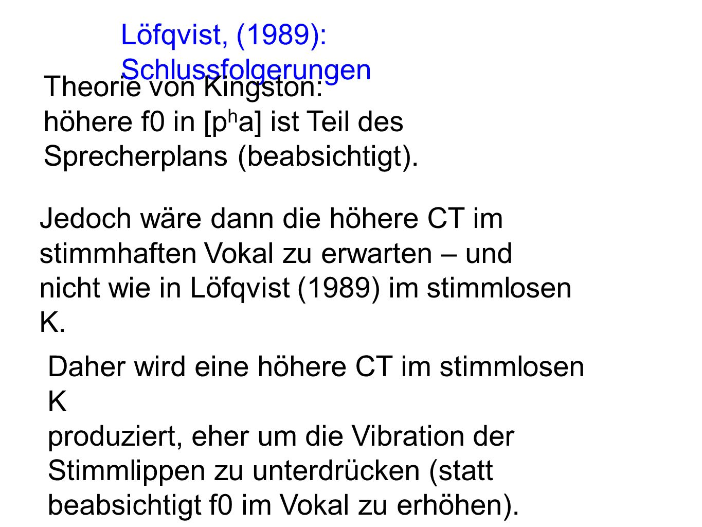 Löfqvist, (1989): Schlussfolgerungen