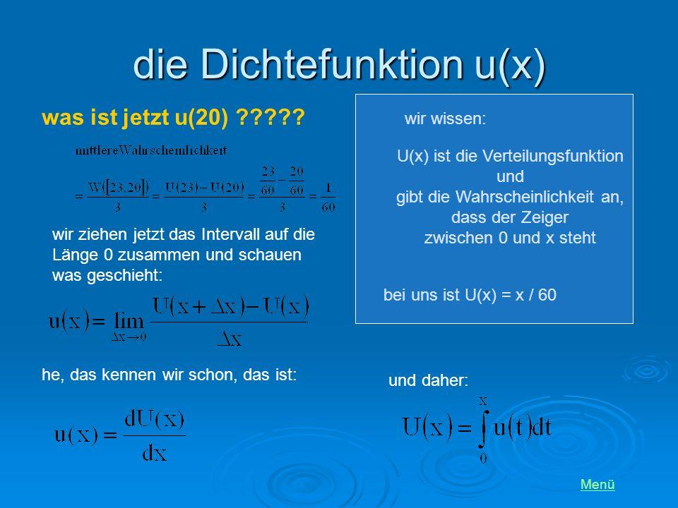 die Dichtefunktion u(x)