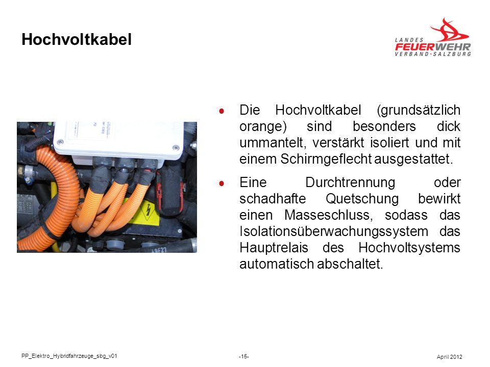 Hochvoltkabel Die Hochvoltkabel (grundsätzlich orange) sind besonders dick ummantelt, verstärkt isoliert und mit einem Schirmgeflecht ausgestattet.