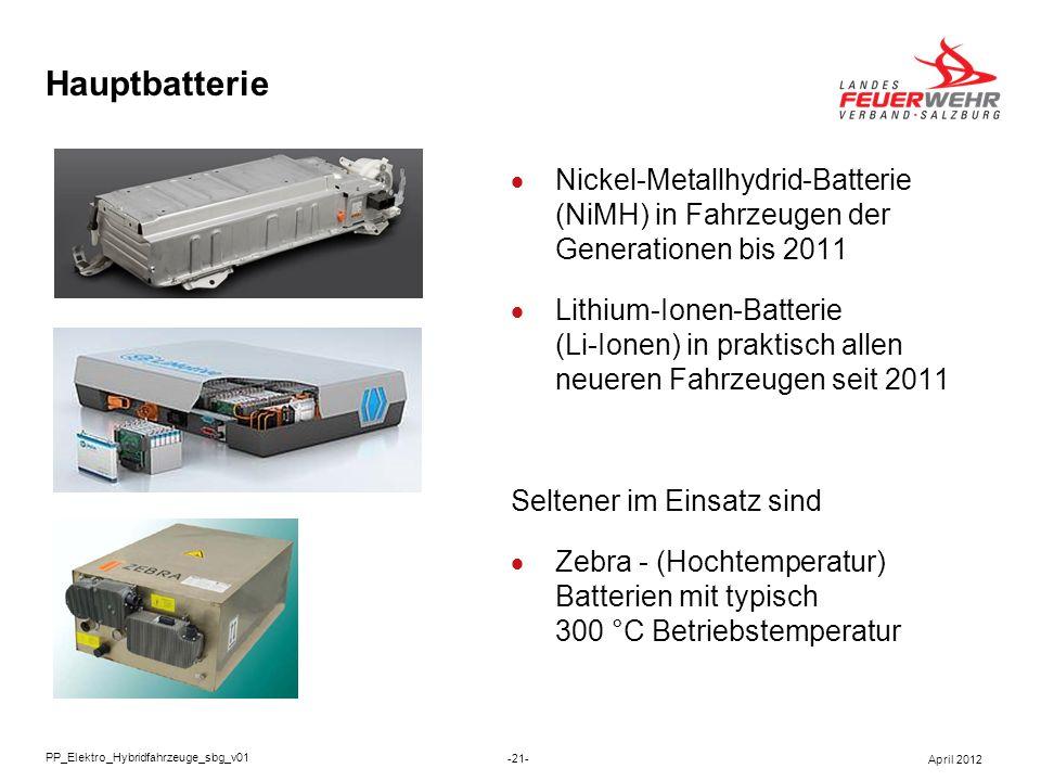 Hauptbatterie Nickel-Metallhydrid-Batterie (NiMH) in Fahrzeugen der Generationen bis 2011.