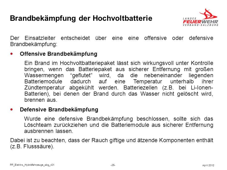 Brandbekämpfung der Hochvoltbatterie