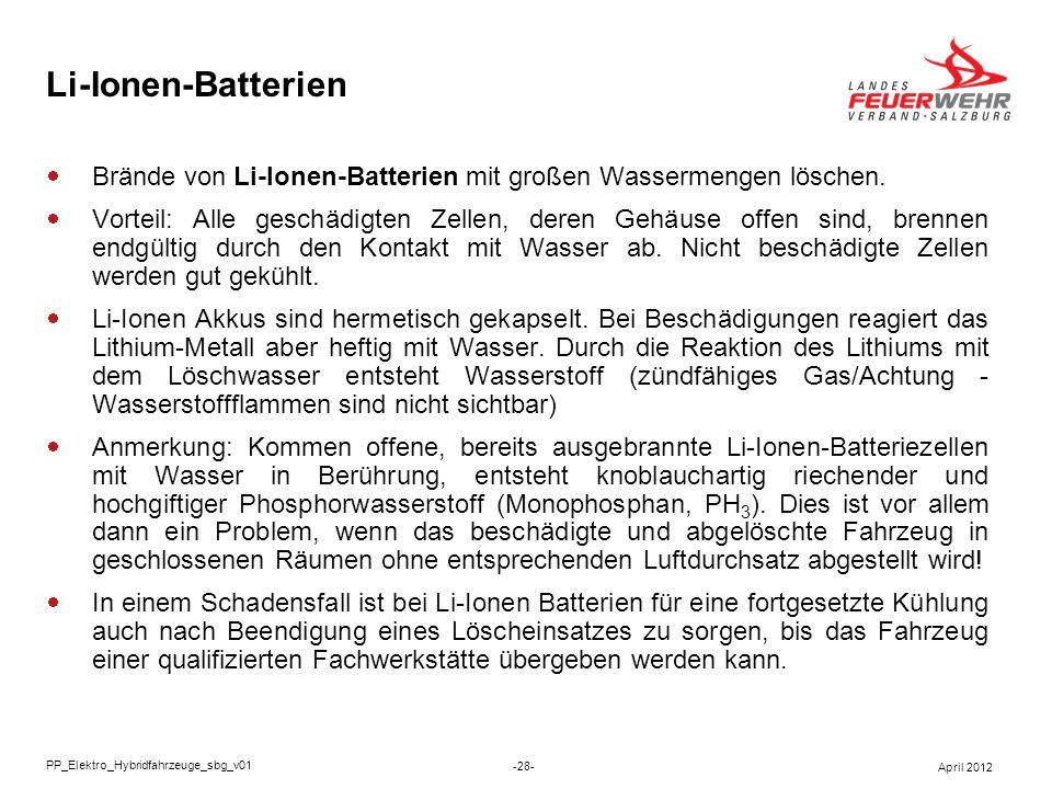 Li-Ionen-Batterien Brände von Li-Ionen-Batterien mit großen Wassermengen löschen.