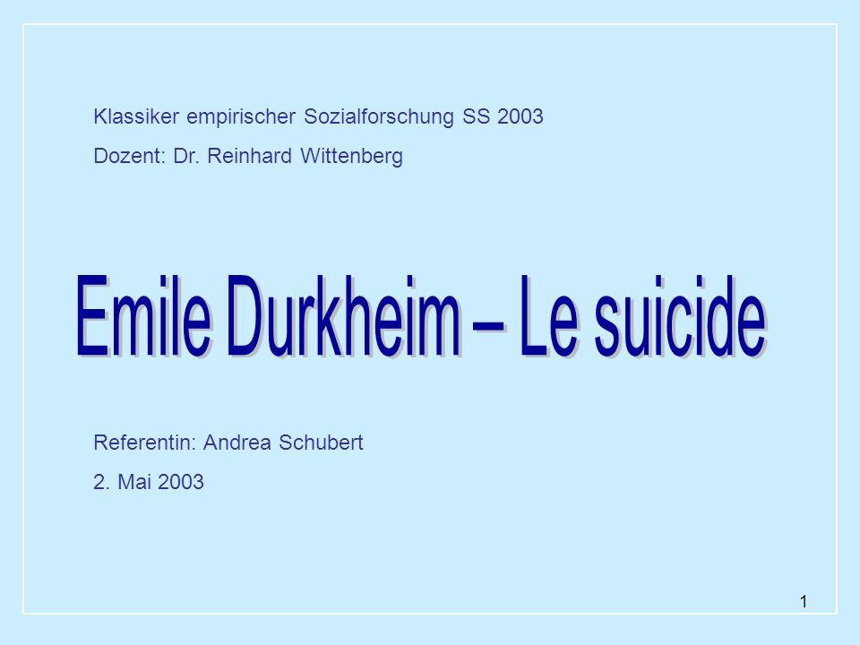 Emile Durkheim – Le suicide