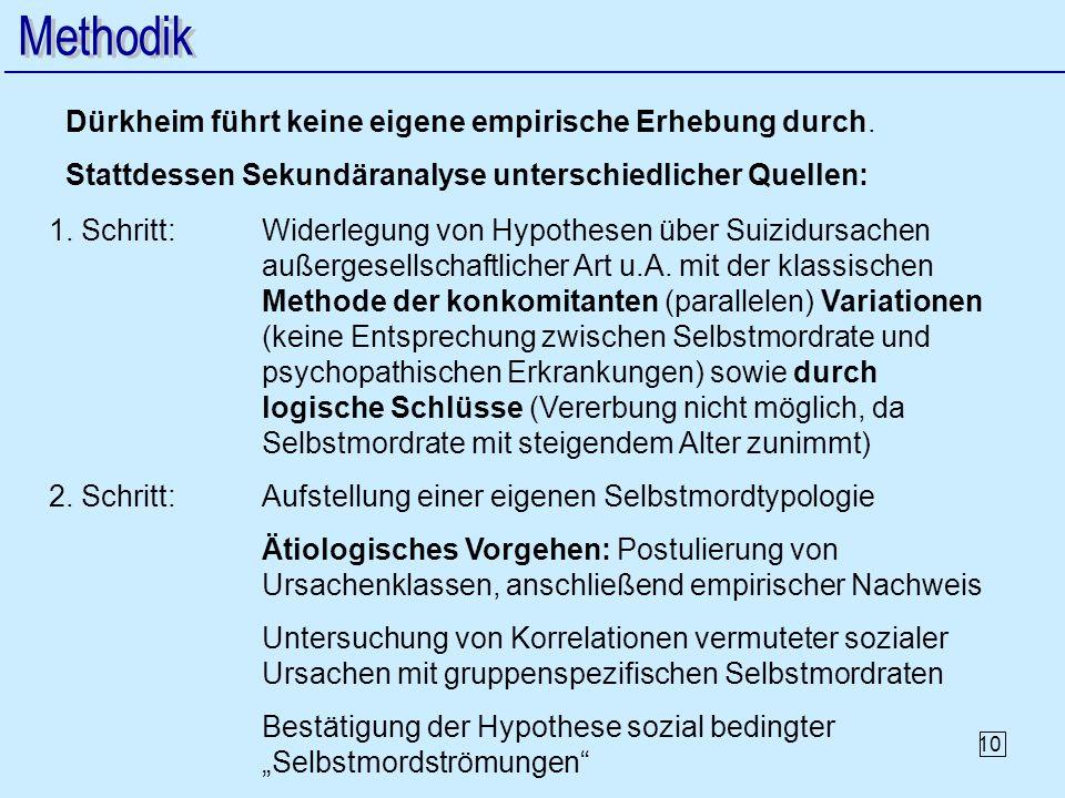Methodik Dürkheim führt keine eigene empirische Erhebung durch.