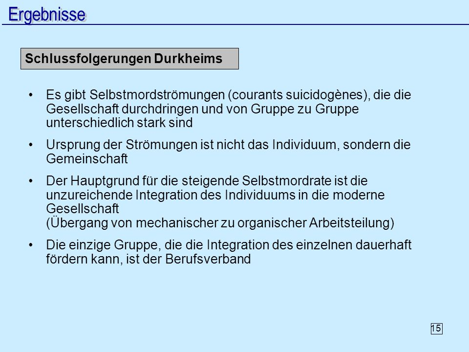 Ergebnisse Schlussfolgerungen Durkheims
