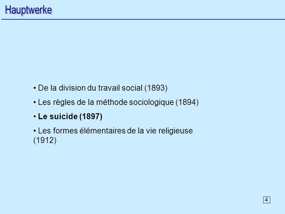 Hauptwerke De la division du travail social (1893)