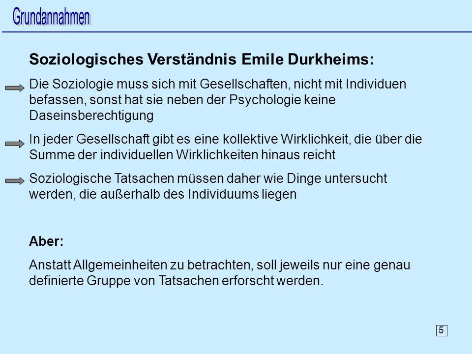 Soziologisches Verständnis Emile Durkheims: