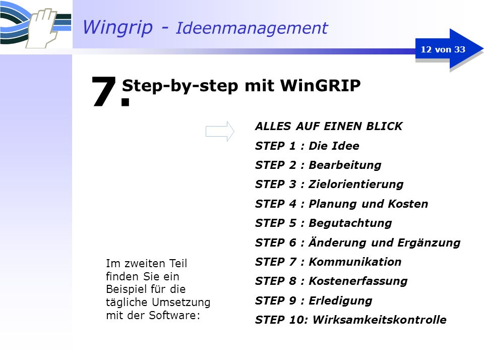 Step-by-step mit WinGRIP
