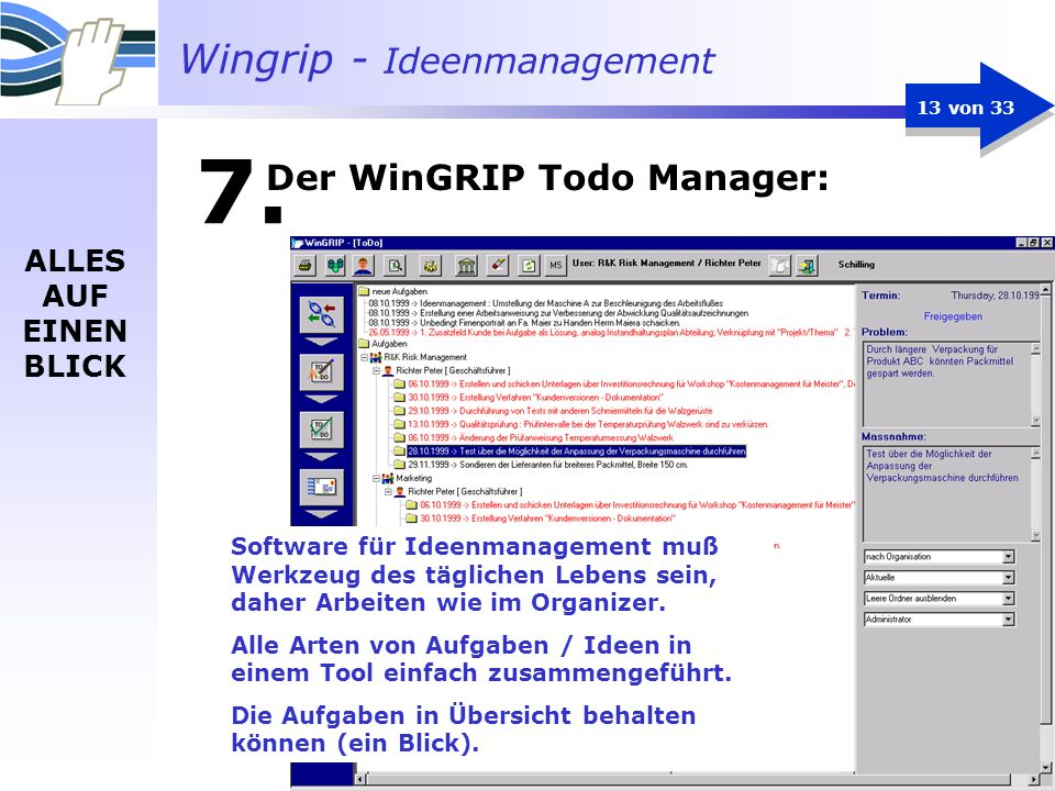 Der WinGRIP Todo Manager: