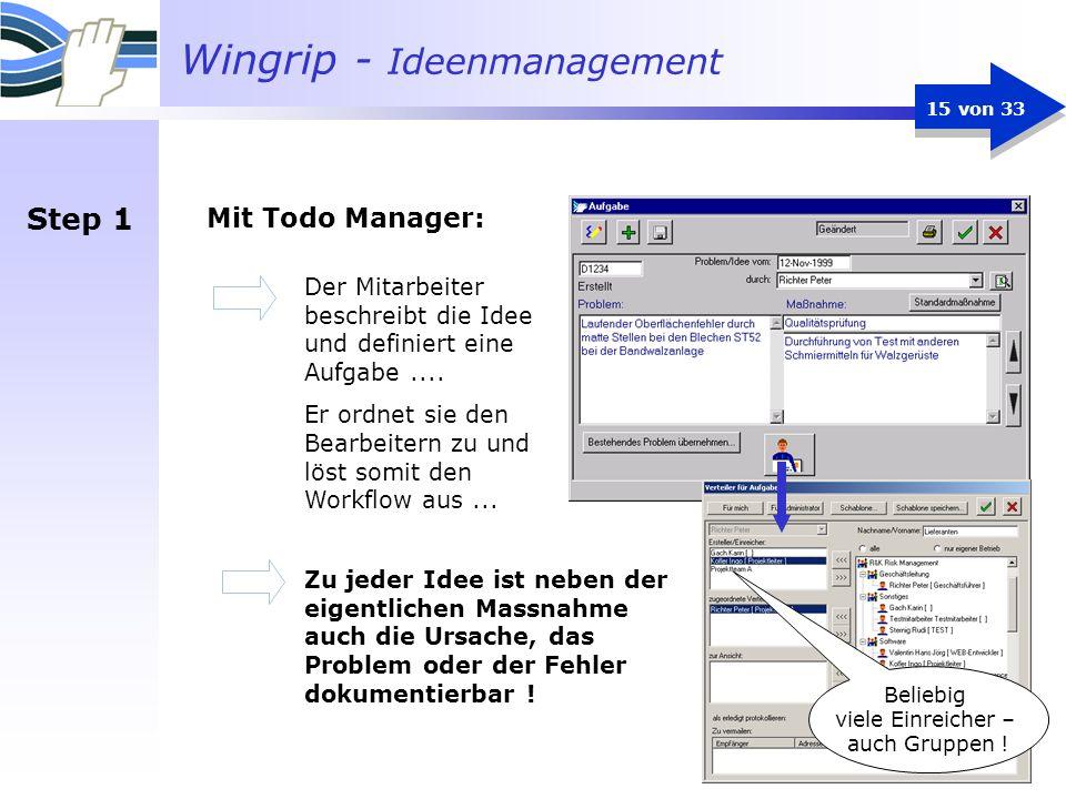 Step 1 Mit Todo Manager: Der Mitarbeiter beschreibt die Idee und definiert eine Aufgabe ....