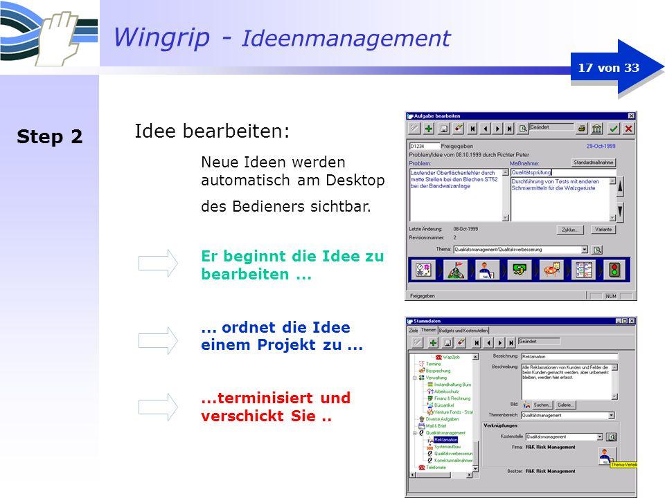 Idee bearbeiten: Step 2 Neue Ideen werden automatisch am Desktop