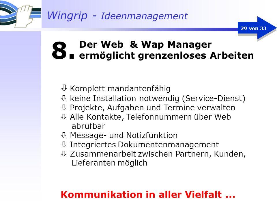 Der Web & Wap Manager ermöglicht grenzenloses Arbeiten
