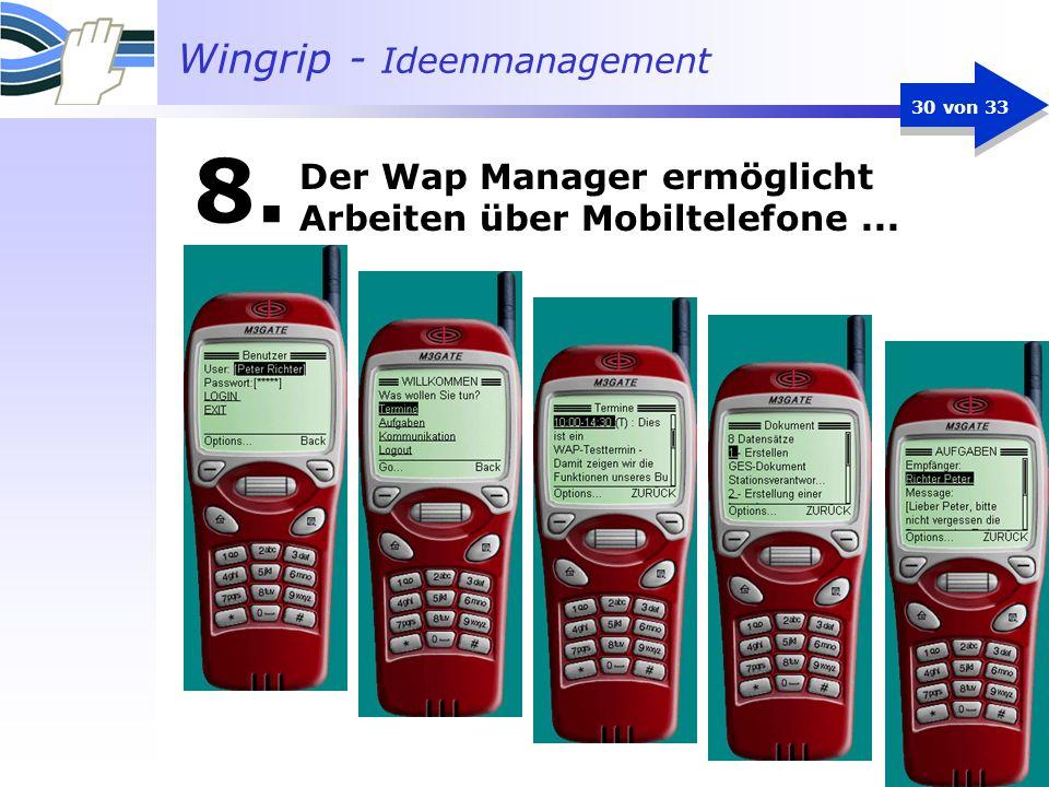 Der Wap Manager ermöglicht Arbeiten über Mobiltelefone ...