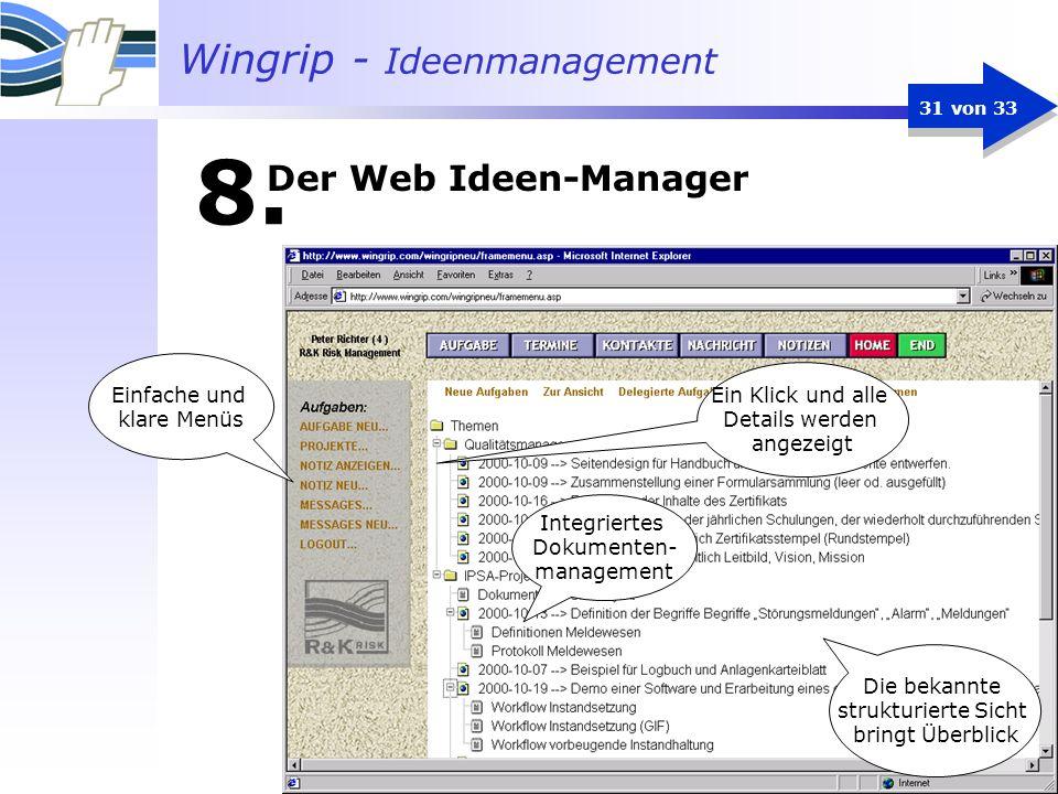 8. Der Web Ideen-Manager Einfache und Ein Klick und alle klare Menüs