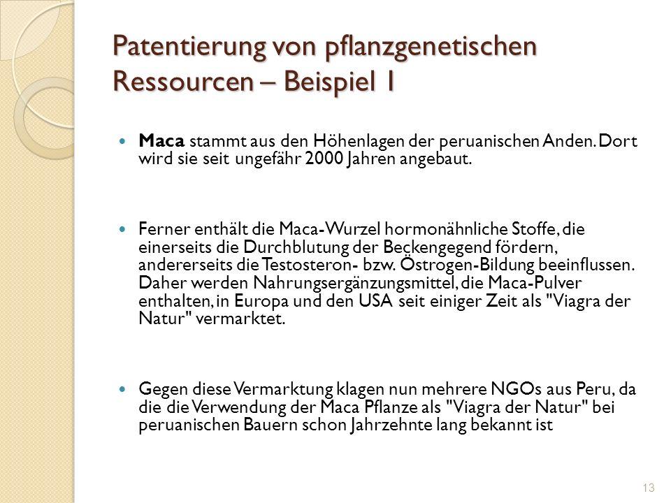 Patentierung von pflanzgenetischen Ressourcen – Beispiel 1