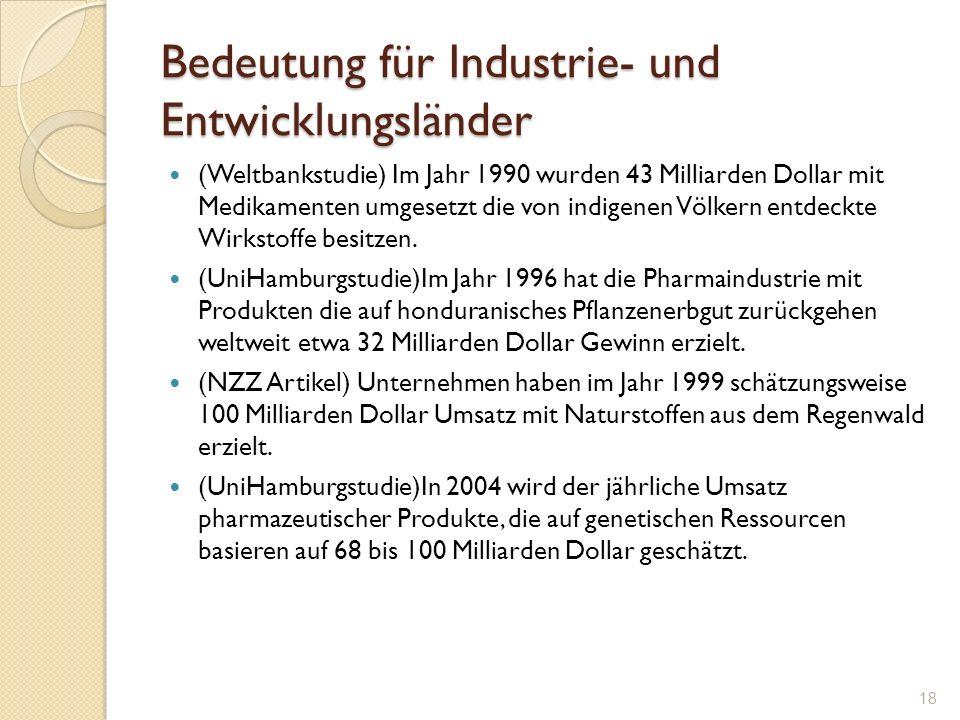 Bedeutung für Industrie- und Entwicklungsländer