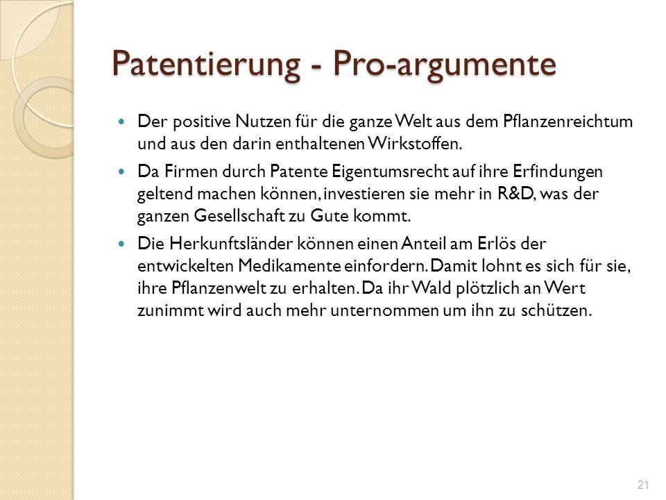 Patentierung - Pro-argumente