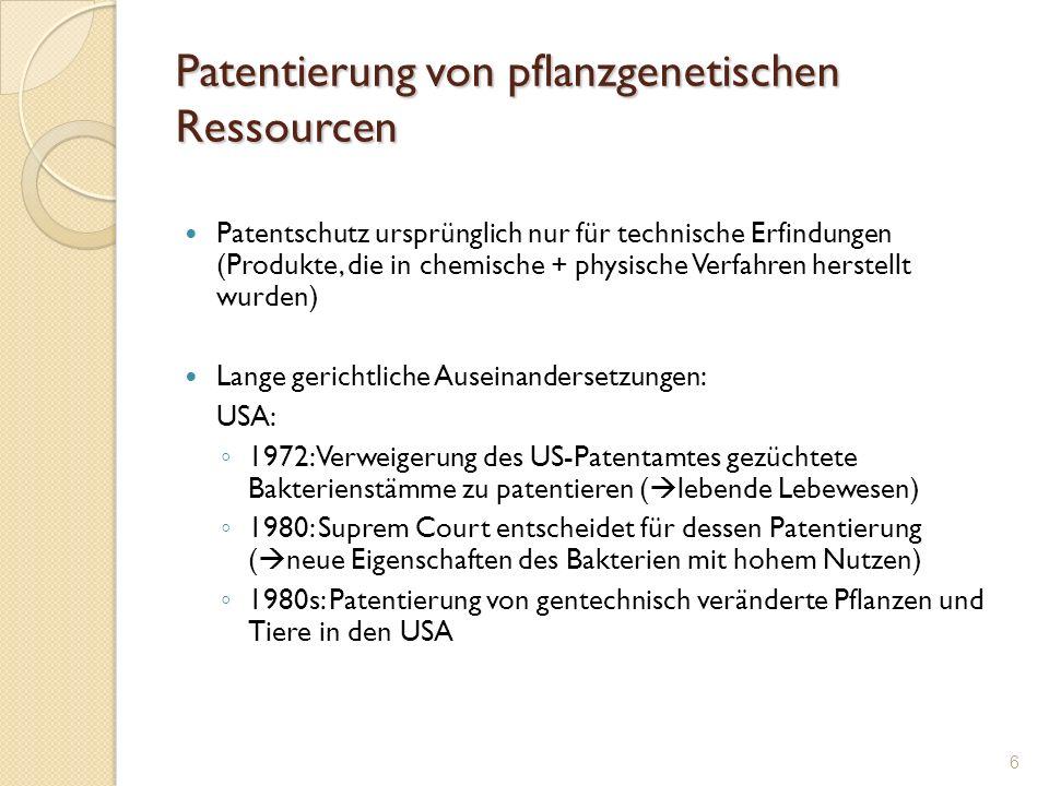 Patentierung von pflanzgenetischen Ressourcen