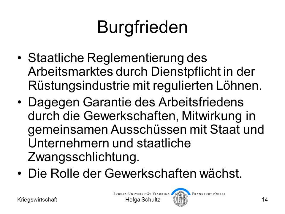 Burgfrieden Staatliche Reglementierung des Arbeitsmarktes durch Dienstpflicht in der Rüstungsindustrie mit regulierten Löhnen.