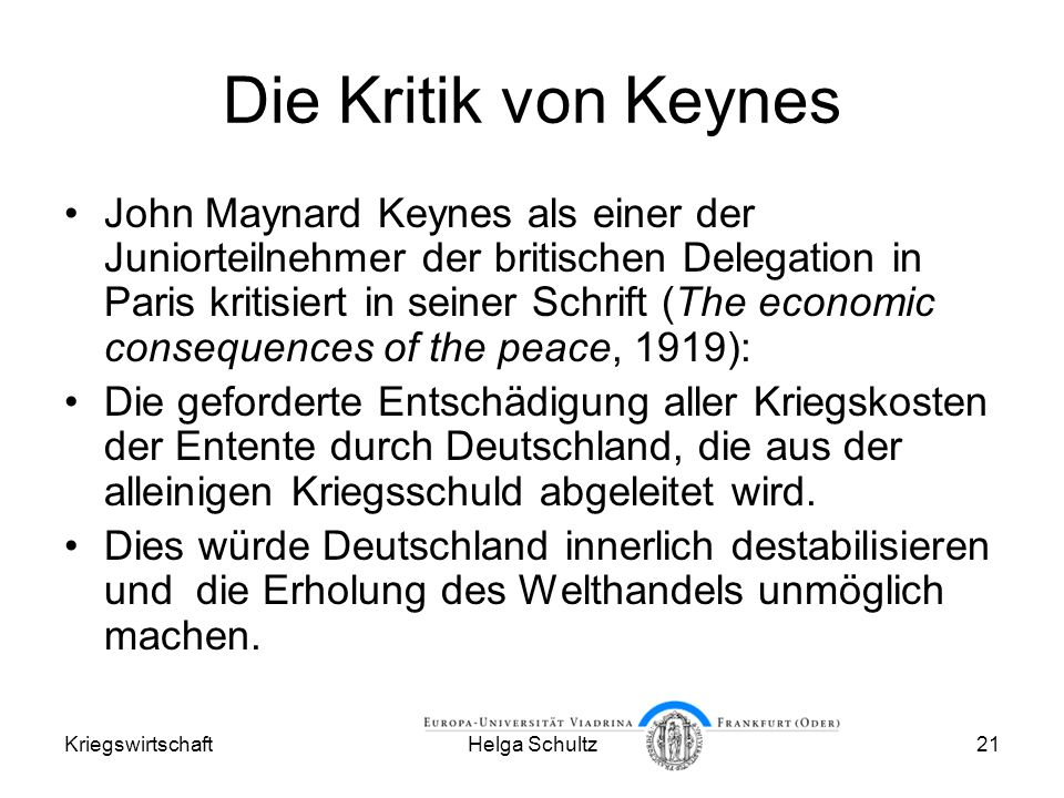 Die Kritik von Keynes