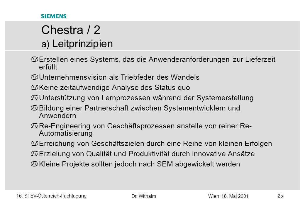 Chestra / 2 a) Leitprinzipien