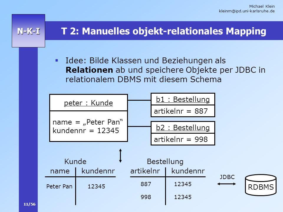 T 2: Manuelles objekt-relationales Mapping