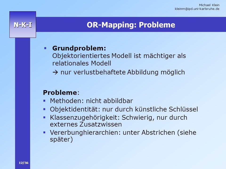 OR-Mapping: Probleme Grundproblem: Objektorientiertes Modell ist mächtiger als relationales Modell.