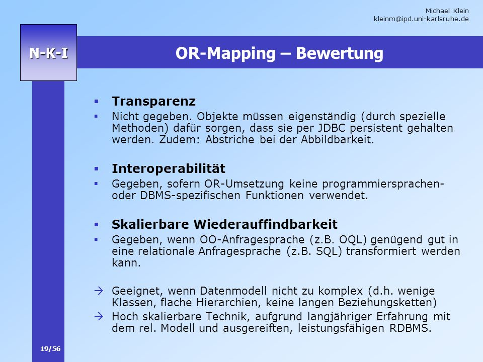 OR-Mapping – Bewertung