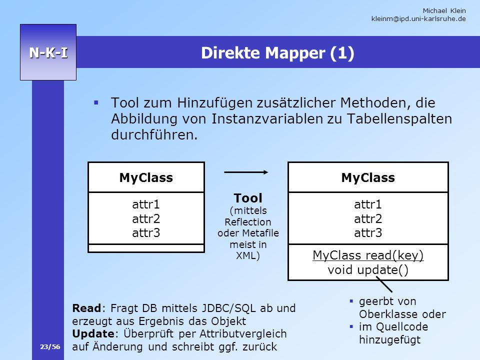 (mittels Reflection oder Metafile meist in XML)