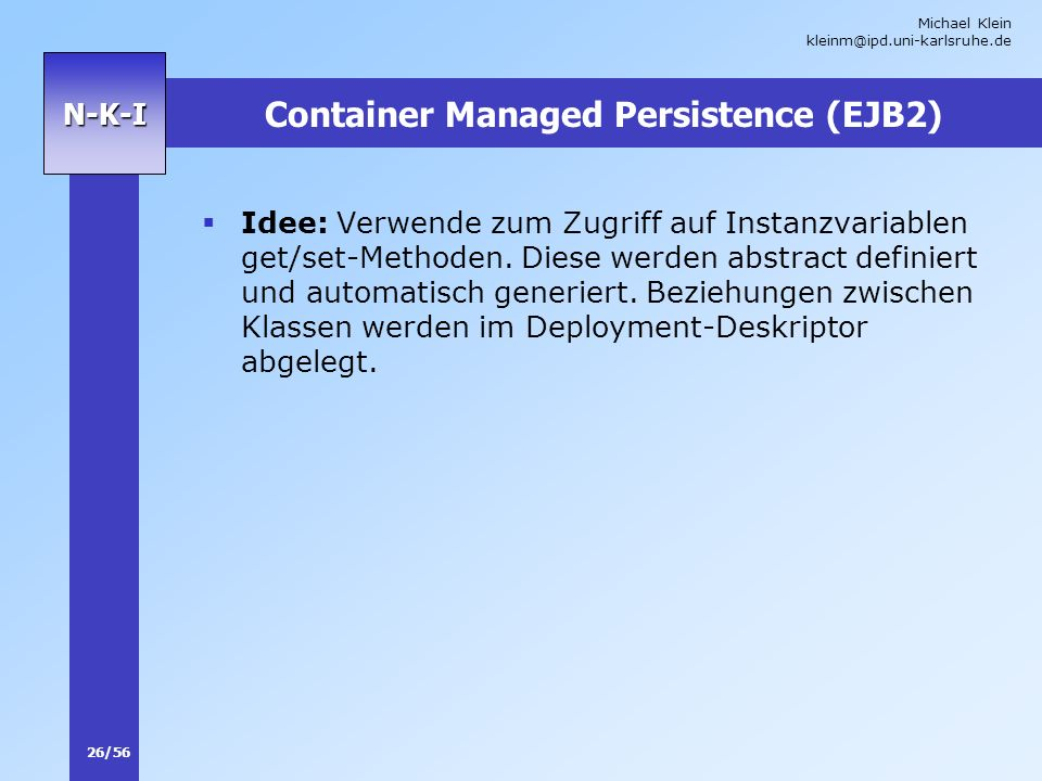 Container Managed Persistence (EJB2)