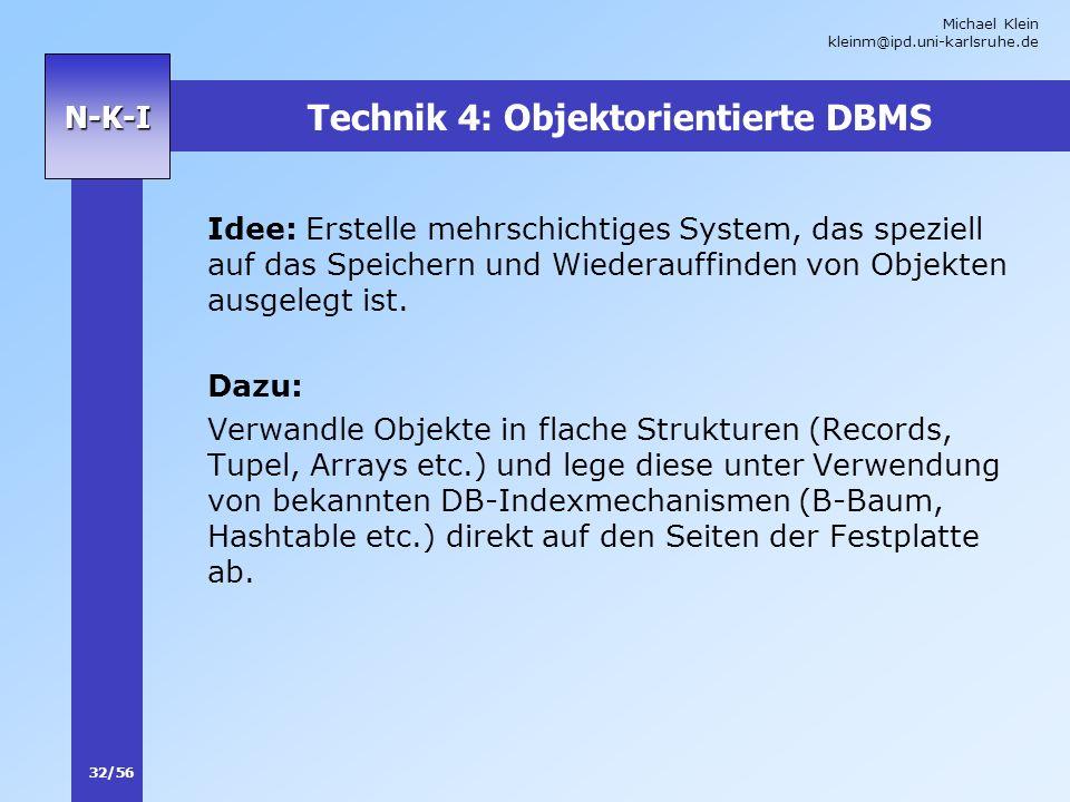 Technik 4: Objektorientierte DBMS