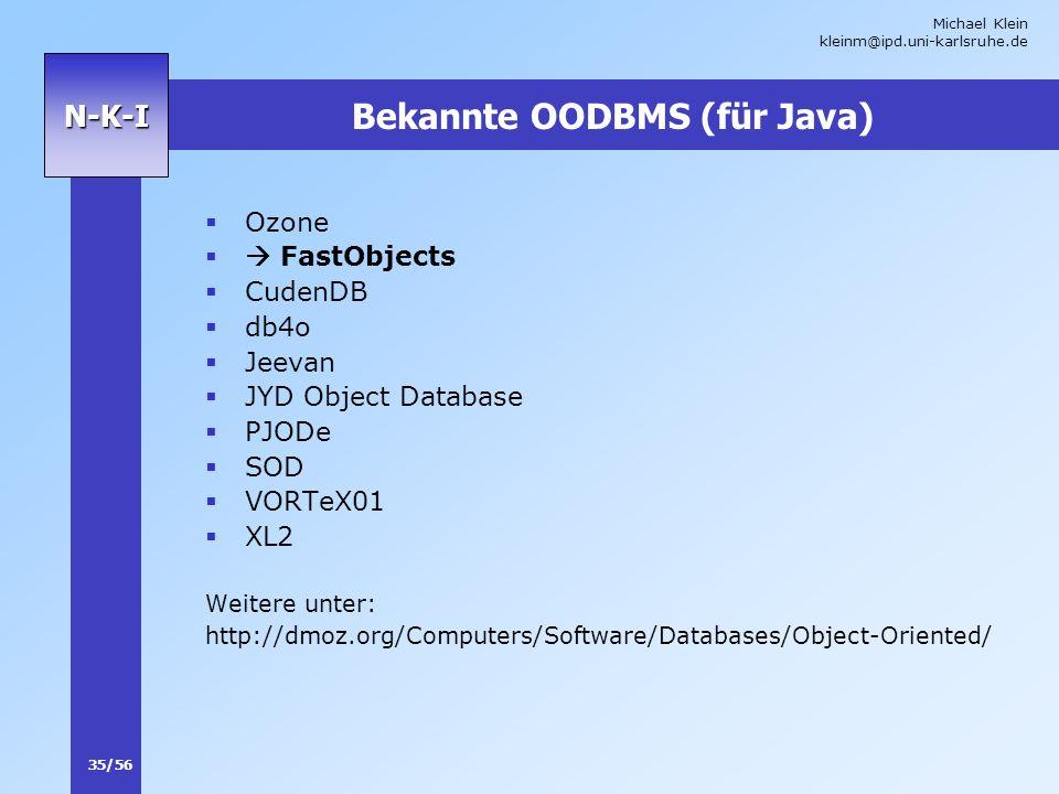 Bekannte OODBMS (für Java)