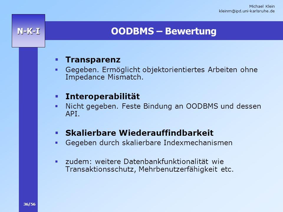 OODBMS – Bewertung Transparenz Interoperabilität