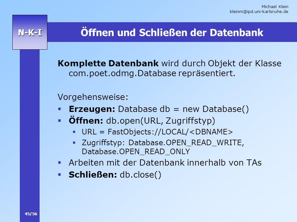Öffnen und Schließen der Datenbank