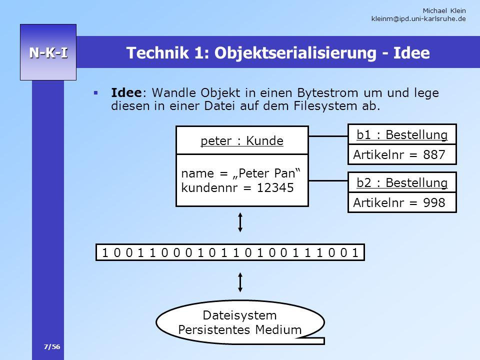 Technik 1: Objektserialisierung - Idee
