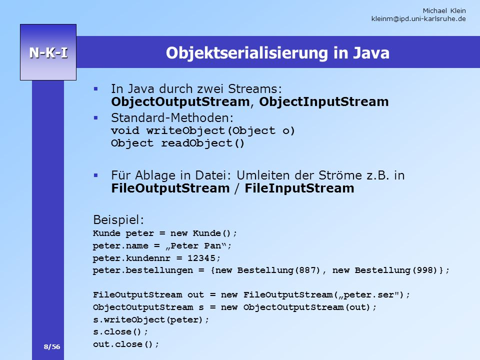 Objektserialisierung in Java
