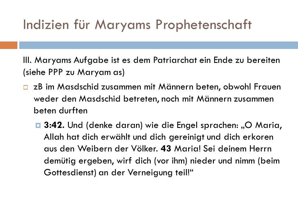 Indizien für Maryams Prophetenschaft
