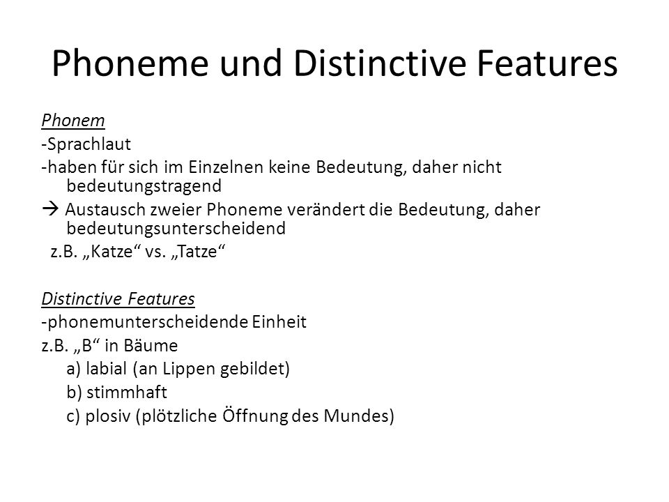 Phoneme und Distinctive Features