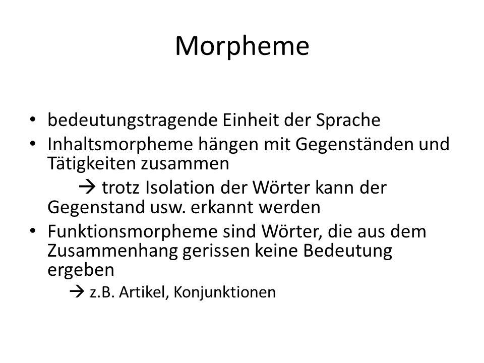 Morpheme bedeutungstragende Einheit der Sprache