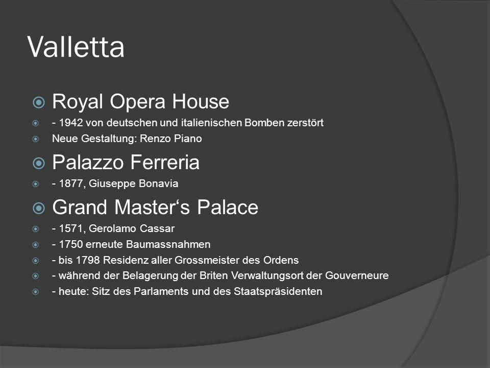 Valletta Royal Opera House Palazzo Ferreria Grand Master's Palace