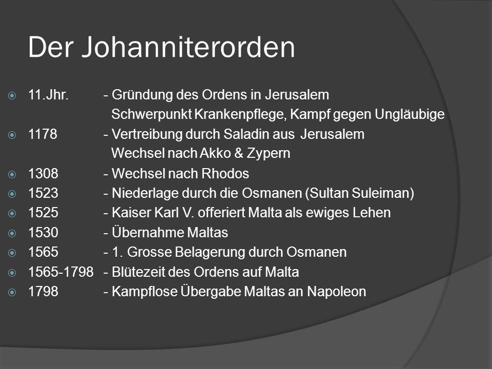 Der Johanniterorden 11.Jhr. - Gründung des Ordens in Jerusalem