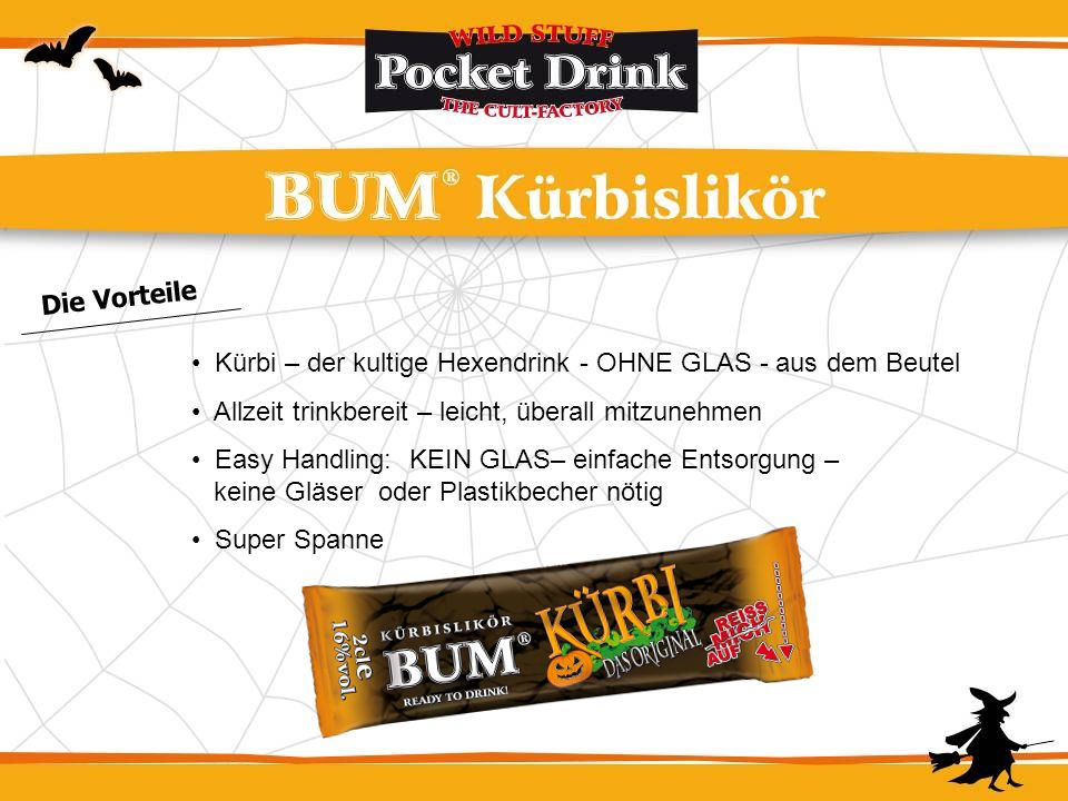Die Vorteile Kürbi – der kultige Hexendrink - OHNE GLAS - aus dem Beutel. Allzeit trinkbereit – leicht, überall mitzunehmen.
