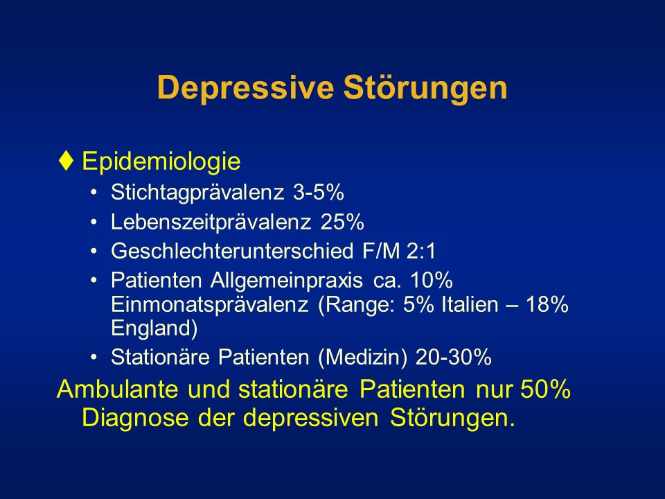 Depressive Störungen Epidemiologie