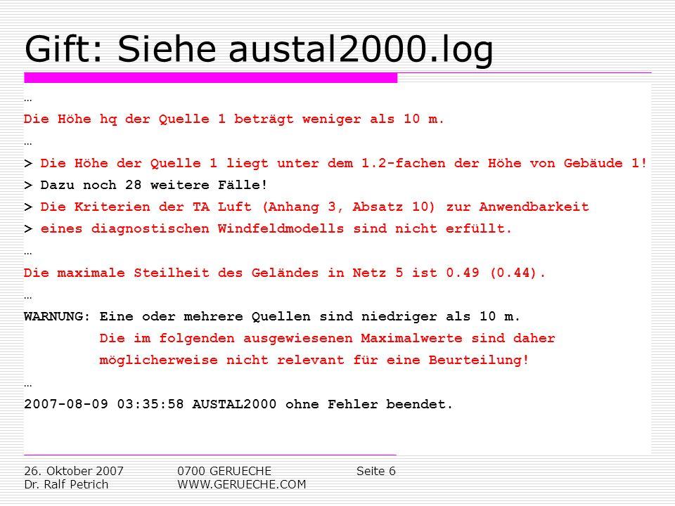 Gift: Siehe austal2000.log …