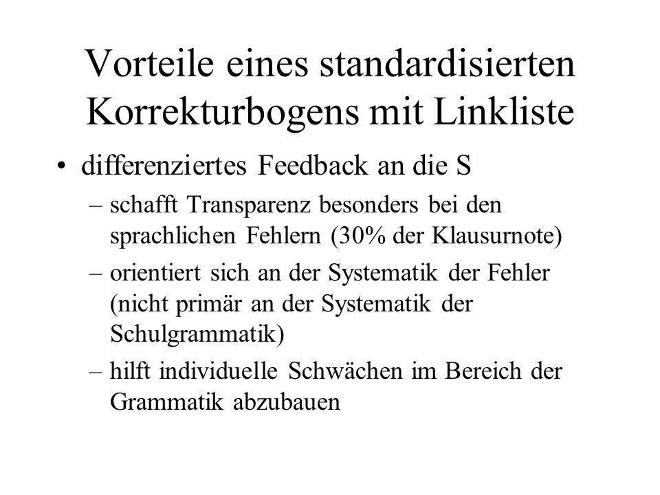 Vorteile eines standardisierten Korrekturbogens mit Linkliste