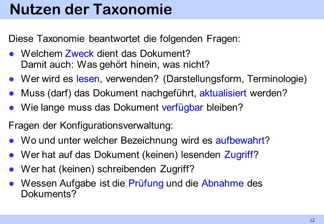 Nutzen der Taxonomie Diese Taxonomie beantwortet die folgenden Fragen: