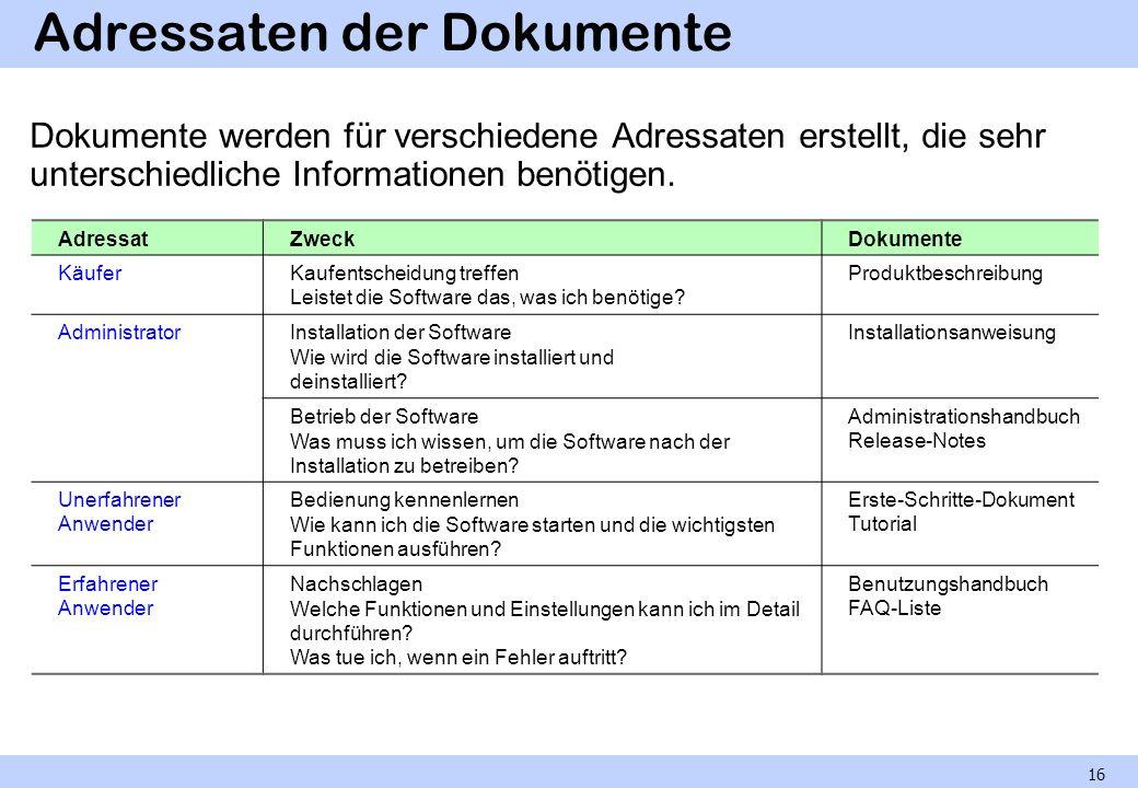 Adressaten der Dokumente